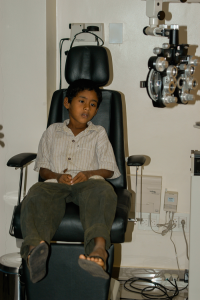 Boy in Eye Exam Chair